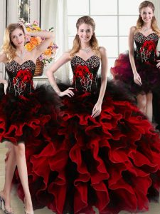 Fantastic Four Piece Floor Length Ball Gowns Sleeveless Black and Red 15th Birthday Dress Lace Up
