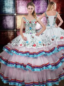 Lovely Straps Taffeta Sleeveless Floor Length 15 Quinceanera Dress and Beading and Embroidery