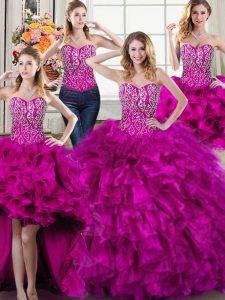 Nice Four Piece Sweetheart Sleeveless Lace Up Quinceanera Dress Fuchsia Organza