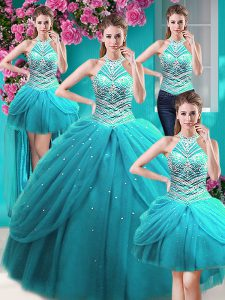 Four Piece Halter Top Sleeveless Tulle Floor Length Lace Up Sweet 16 Dress in Aqua Blue with Beading and Pick Ups
