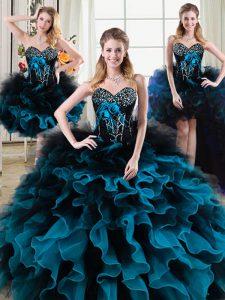 Custom Design Four Piece Black and Blue Sleeveless Beading and Ruffles and Hand Made Flower Floor Length 15th Birthday D