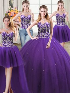 Four Piece Floor Length Ball Gowns Sleeveless Purple Quinceanera Gown Lace Up