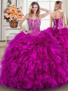 Ball Gowns Sleeveless Fuchsia 15th Birthday Dress Brush Train Lace Up
