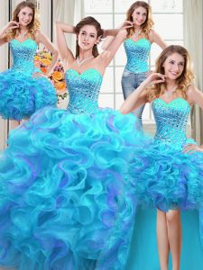 Four Piece Multi-color Ball Gowns Sweetheart Sleeveless Organza Floor Length Lace Up Beading and Ruffles Quinceanera Gow