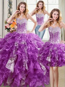 Three Piece Purple Sweetheart Neckline Beading and Ruffles and Sequins Sweet 16 Dresses Sleeveless Lace Up