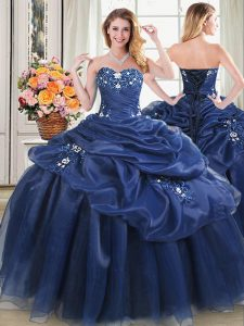 Romantic Navy Blue Ball Gowns Organza Sweetheart Sleeveless Beading and Pick Ups Floor Length Lace Up Sweet 16 Dresses
