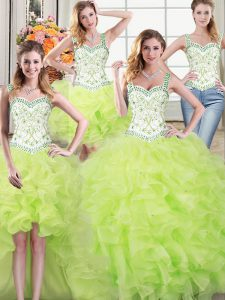 Cheap Four Piece Straps Floor Length Ball Gowns Sleeveless Yellow Green Ball Gown Prom Dress Lace Up