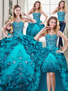 Four Piece Floor Length Lace Up 15 Quinceanera Dress Teal for Military Ball and Sweet 16 and Quinceanera with Beading an