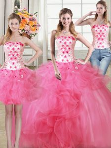 High Quality Three Piece Hot Pink Quinceanera Dress Military Ball and Sweet 16 and Quinceanera and For with Beading and