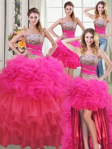 Beauteous Four Piece Sleeveless Beading and Ruffles and Ruffled Layers and Sequins Lace Up Sweet 16 Dresses
