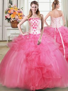 Hot Pink Sleeveless Beading and Appliques and Ruffles Floor Length Sweet 16 Quinceanera Dress