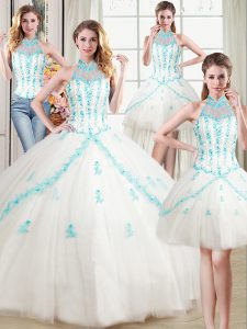 Four Piece Halter Top Sleeveless Beading and Appliques Lace Up Sweet 16 Dress