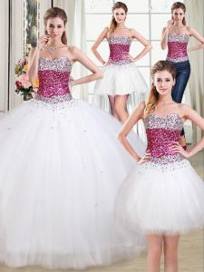 Super Four Piece Floor Length Lace Up 15 Quinceanera Dress White for Military Ball and Sweet 16 and Quinceanera with Bea