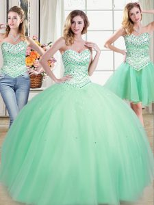 Clearance Three Piece Floor Length Lace Up Quinceanera Dresses Apple Green for Military Ball and Sweet 16 and Quinceaner
