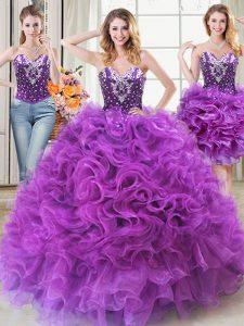 Three Piece Eggplant Purple Sleeveless Beading and Ruffles Floor Length Sweet 16 Dresses