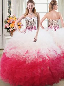 Gorgeous Pink And White Ball Gowns Organza Sweetheart Sleeveless Beading and Ruffles Floor Length Lace Up Vestidos de Qu