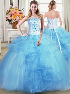 Strapless Sleeveless Lace Up Quinceanera Gowns Light Blue Tulle