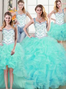 Four Piece Straps Floor Length Lace Up Quince Ball Gowns Aqua Blue for Military Ball and Sweet 16 and Quinceanera with B