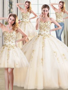 Fitting Four Piece Sweetheart Sleeveless 15 Quinceanera Dress Floor Length Beading Champagne Tulle