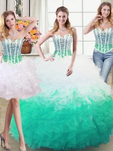 Three Piece Organza Sweetheart Sleeveless Lace Up Beading and Ruffles Sweet 16 Quinceanera Dress in White and Green