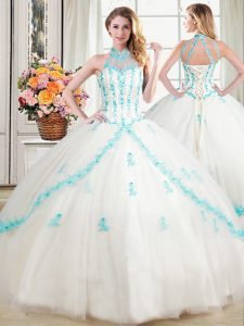 Charming Halter Top Sleeveless Floor Length Beading and Appliques Lace Up 15 Quinceanera Dress with White
