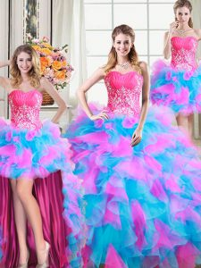 Attractive Four Piece Floor Length Multi-color Vestidos de Quinceanera Sweetheart Sleeveless Zipper