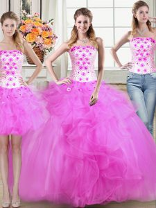 Trendy Three Piece Mermaid Strapless Sleeveless Tulle 15th Birthday Dress Beading and Appliques and Ruffles Lace Up