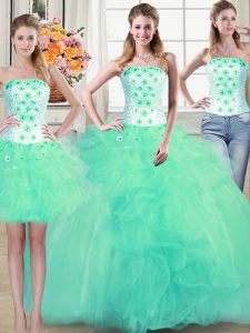 Modern Three Piece Tulle Sleeveless Floor Length Sweet 16 Quinceanera Dress and Beading and Appliques and Ruffles