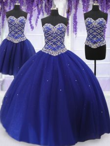 Three Piece Sleeveless Lace Up Floor Length Beading 15 Quinceanera Dress