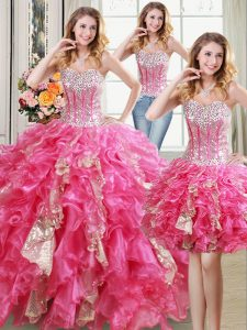 Hot Selling Three Piece Sleeveless Lace Up Floor Length Beading and Ruffles and Sequins Sweet 16 Quinceanera Dress