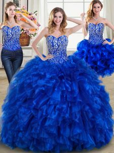 Vintage Three Piece Royal Blue Lace Up Sweetheart Beading and Ruffles Quince Ball Gowns Organza Sleeveless Brush Train