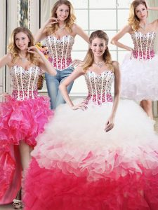 Suitable Four Piece Sweetheart Sleeveless Ball Gown Prom Dress Floor Length Beading and Ruffles White and Red Organza