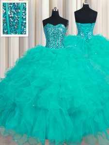 New Style Beading and Ruffles Quince Ball Gowns Turquoise Lace Up Sleeveless Floor Length
