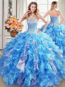 Baby Blue Vestidos de Quinceanera Military Ball and Sweet 16 and Quinceanera and For with Beading and Ruffles and Sequin