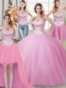 Fine Four Piece Floor Length Rose Pink Quince Ball Gowns Tulle Sleeveless Beading