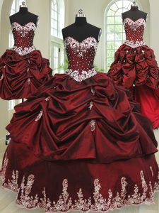 Discount Four Piece Wine Red Sweet 16 Quinceanera Dress Military Ball and Sweet 16 and Quinceanera and For with Beading