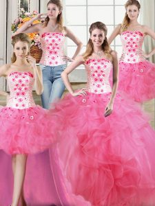 Exquisite Four Piece Hot Pink Ball Gowns Beading and Appliques and Ruffles Vestidos de Quinceanera Lace Up Tulle Sleevel