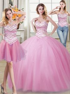 Three Piece Rose Pink Sleeveless Floor Length Beading Lace Up Sweet 16 Dresses