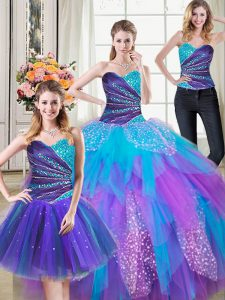Ideal Three Piece Tulle Sweetheart Sleeveless Lace Up Beading and Ruffles Quinceanera Dresses in Multi-color