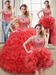 Four Piece Straps Sleeveless Floor Length Beading and Ruffles Zipper 15 Quinceanera Dress with Coral Red