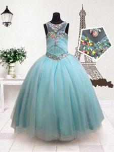 Hot Sale Aqua Blue Scoop Zipper Beading Pageant Dress for Womens Sleeveless