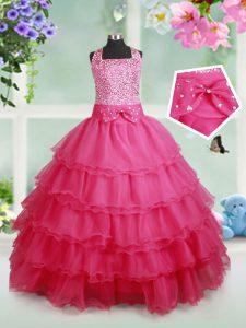 Ruffled Ball Gowns Little Girls Pageant Dress Hot Pink Halter Top Organza Sleeveless Floor Length Zipper