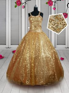 Gold Tulle Lace Up Straps Sleeveless Floor Length Little Girls Pageant Dress Beading and Sequins