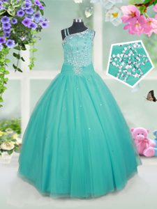 Turquoise Sleeveless Tulle Zipper Little Girls Pageant Dress Wholesale for Quinceanera and Wedding Party