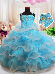Wonderful Straps Floor Length Baby Blue Girls Pageant Dresses Organza Sleeveless Beading and Appliques and Ruffled Layer