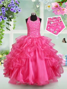Hot Pink Organza Lace Up Halter Top Sleeveless Floor Length Little Girl Pageant Gowns Beading and Ruffled Layers