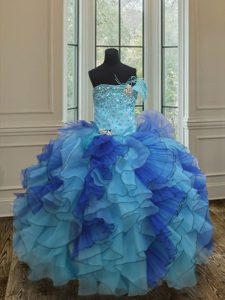 Affordable Blue Ball Gowns Beading and Ruffles Pageant Dress Womens Lace Up Organza Sleeveless Floor Length