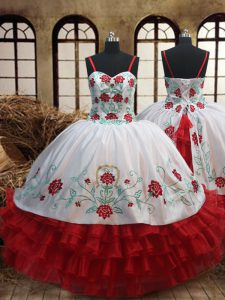 High End White and Red Little Girls Pageant Dress Wholesale Quinceanera and Wedding Party and For with Embroidery and Ru