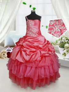 Super Spaghetti Straps Sleeveless Organza and Taffeta Pageant Dress Wholesale Beading and Ruffled Layers Lace Up