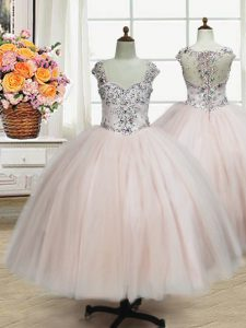 Straps Pink Zipper Toddler Flower Girl Dress Beading Cap Sleeves Floor Length